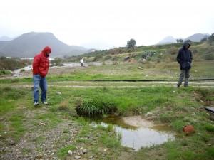 Voluntarios en una charca de la Rambla de Pastrana