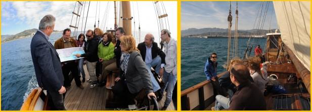 Miembros de CIRCE muestran a los participantes de la navegación la importancia de las praderas de Posidonia oceanica y las actuacciones que se están llevando a cabo durante el proyecto para su conservación.