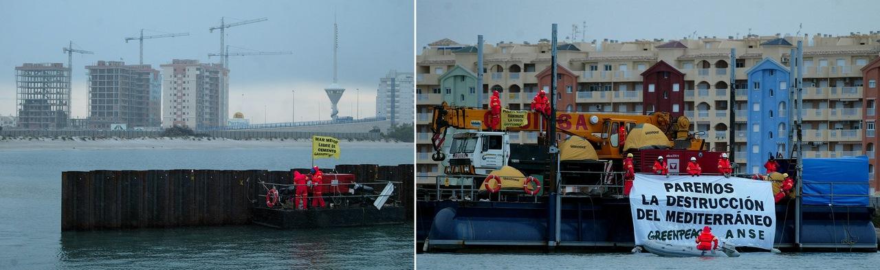 Acción de protesta realizada el 27 de enero de 2005 por ANSE y Greenpeace.