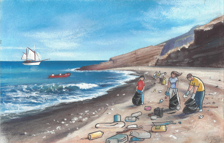 Voluntarios de ANSE recogen basura de la playa.