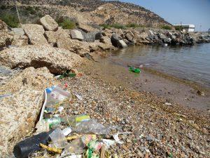 Basuras en playa junto antiguo desguace